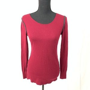 Loft Red Zipper Back Sweater Blouse Size S